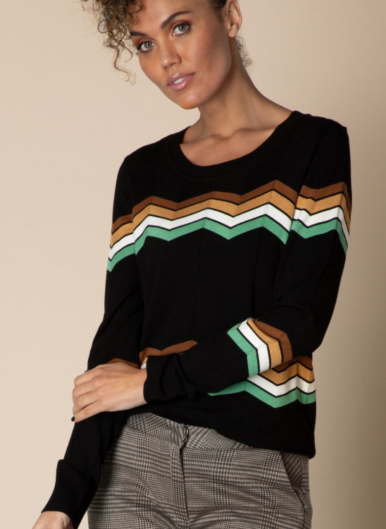Yest Knit Sweater with a Stripe Design