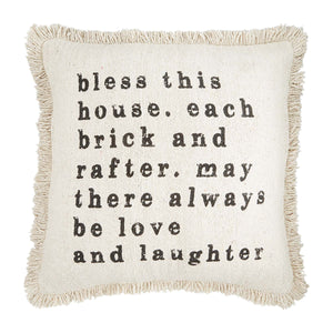 Mud Pie Bless This House Fringe Throw Pillow