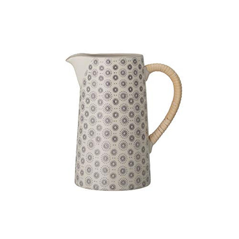Cream Stoneware Grey Hand-Stamped Pattern and Rattan Wrapped Handle Pitcher