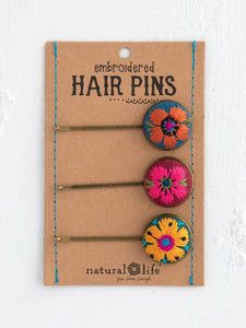 Natural Life Set of Embroidered Bobby Pins