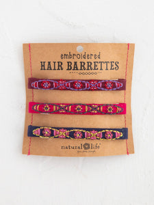 Natural Life Set of Embroidered Hair Barrettes