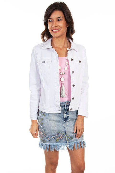 Scully Distressed White Denim Jacket!!!