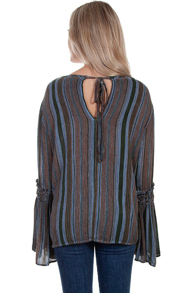 Scully Braided Bell Sleeve Tie Back Blouse!!!