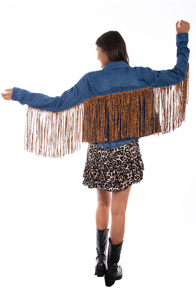 Scully Denim Jacket with Leopard Fringe!!!