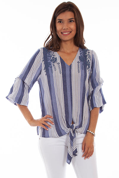 Scully Blue Stripe Tie Front Top!!!