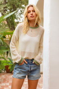 Hem & Thread Cream/Sage Point Sweater Top