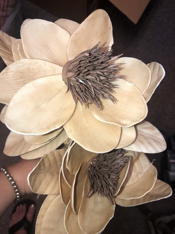 Light Tan with brown center large faux flower
