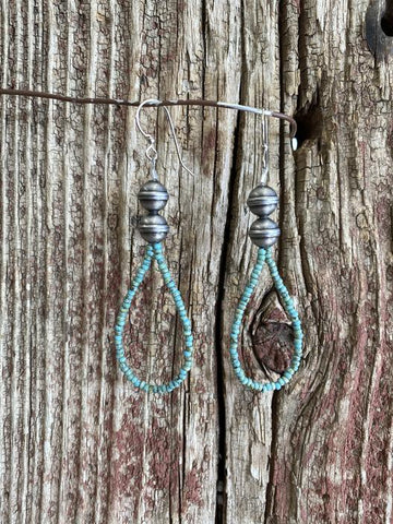 J. Forks 17153 Turquoise Seed Bead & Silver Bead Teardrop Earrings