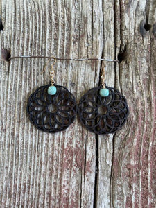 J. Forks 17174 Laser Cut Spiral Circle Dark Wood Earrings