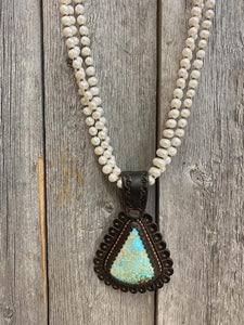 J. Forks 17216 3std Pearls w/Bronze & 110ct Old #8 Turquoise/Leather Pendant Necklace