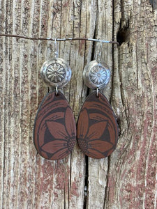 J. Forks 17160 Laser Engraved Leather Teardrop w/Slv Concho Earrings