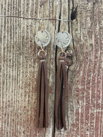J. Forks 17109 Buffalo Nickel w/Leather Tassel Earrings