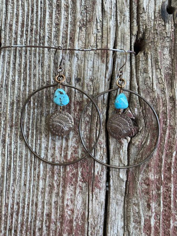 J. Forks 17125 Bronze Hoop w/Kingman Turquoise & Bronze Charm Earrings