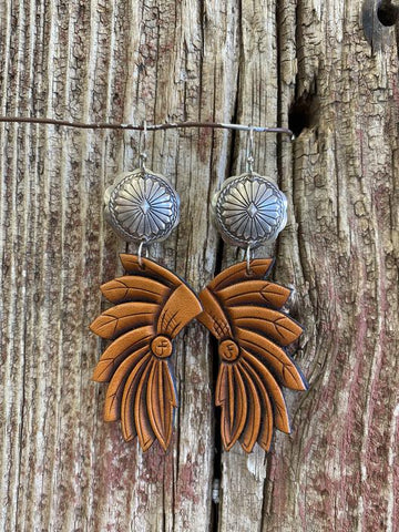 J. Forks 17007 Concho and Leather Headdress Earrings