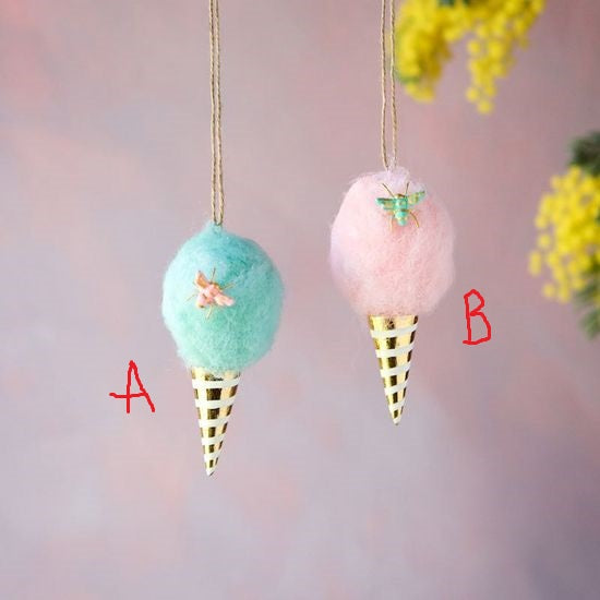 "Glitterville 4.5"" Cotton Candy Ornaments! TWO Color Options!"