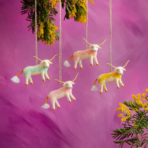 "Glitterville ""Beauregard"" the Bovine Longhorn Ornament! FOUR Colors!"
