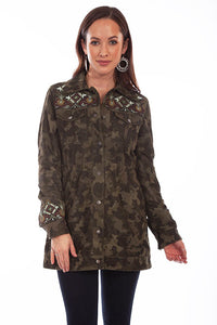 Scully Camo Suede and Embroidered Beaded Jacket
