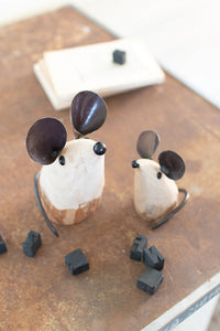 Set of 2 Recycled Wood and Iron Mice