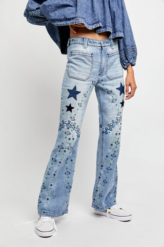 Free People Delphine Embroidered Flare Jeans