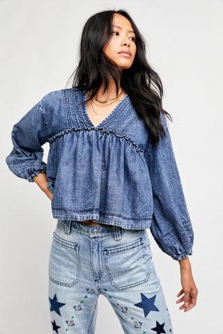 Free People Charlotte Denim Blouse