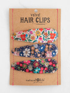 Natural Life Set of Velvet Hair Clips