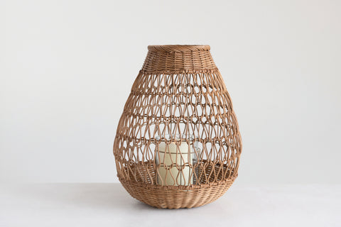 "20""H Handwoven Rattan Lantern with Glass Insert"