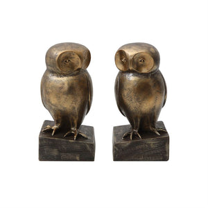 Bronze Finish Resin Owl Bookends