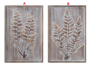 Wood Framed Embossed Wall Decor w/ Fern Fronds! TWO Style Options!