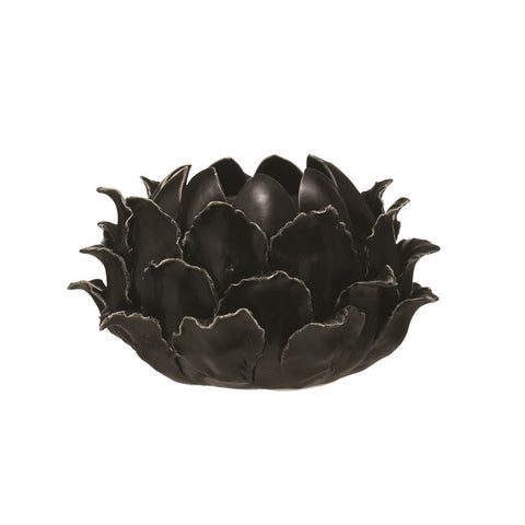 Black Reactive Glaze Handmade Stoneware Flower Taper/Votive Holder