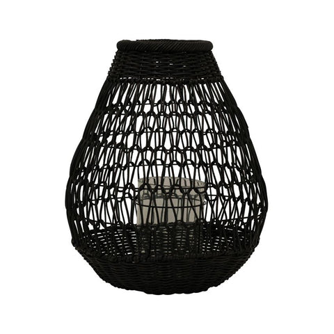 Black Hand-Woven Rattan Lantern with Glass Insert