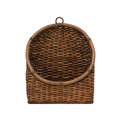 Hand-Woven Rattan Wall Basket (Hangs or Sits)