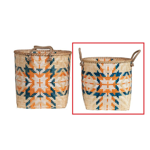 Small Hand-Woven Bamboo Basket with Handles