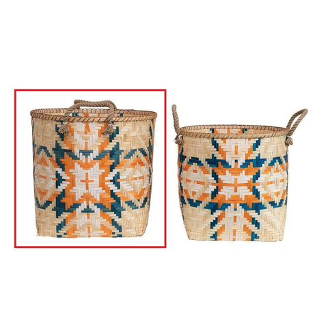 Large Hand-Woven Bamboo Basket with Handles