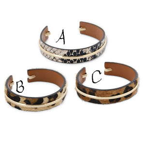 Animal Cuff Bracelets with Metal Band! THREE COLORS!