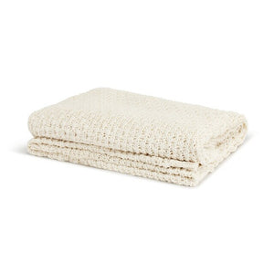 Cream Chunky Knit Throw 100% Cotton Large Weave