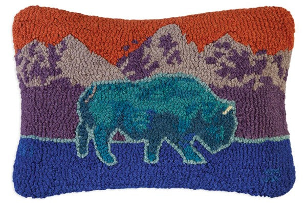Blue Bison Hooked Wool Pillow