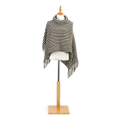 Cowl Neck Poncho - Brown and Cream