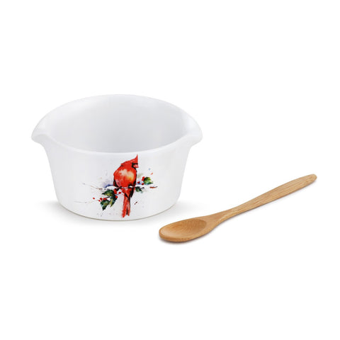 Cardinal and Holly Holiday Appetizer Bowl with Spoon