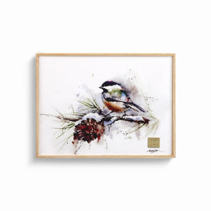 Chickadee and Pinecone Wall Art