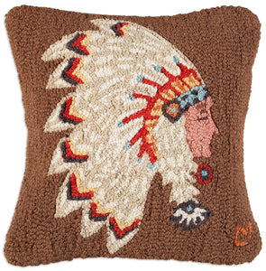 Chief Sitting Bull Hooked Wool Pillow