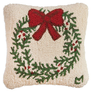 Christmas Wreath Hooked Wool Pillow