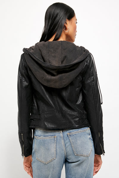 Free People Cleo Hooded Vegan Suede Moto Jacket
