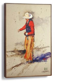 Cowboy In Red Shirt Wall Art