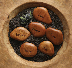 Round Acacia Wood Stone w/ Word! SIX Style Options!