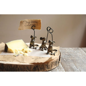 "4""H Cast Iron Mouse Card Holder"