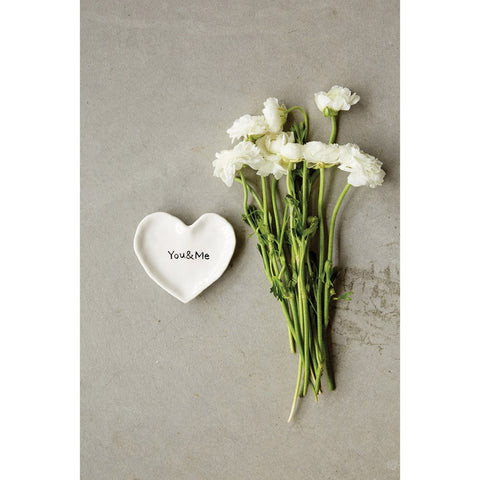 "White ""You & Me"" Ceramic Heart Dish"