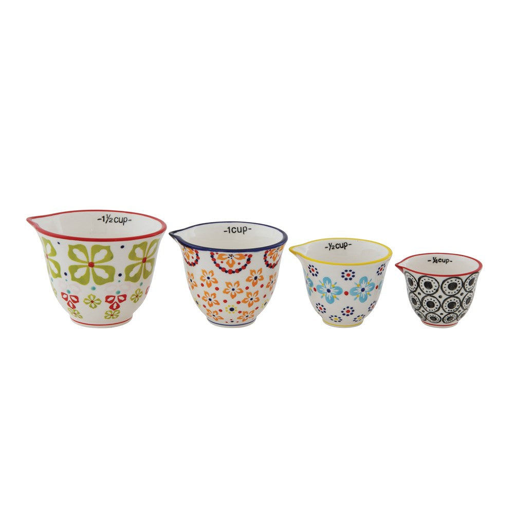 Stonewear Measuring Cups with Floral