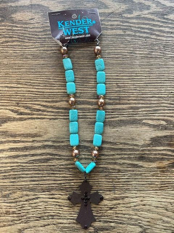 Kender West Faux Turquoise Metal Cross Necklace