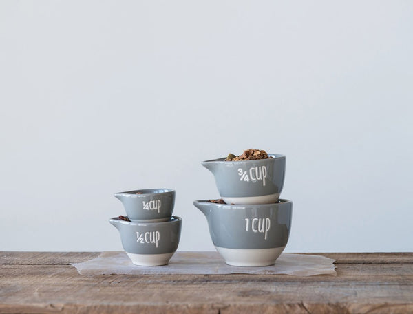 Grey Cup Stoneware Measuring Cups