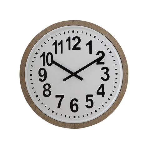 "24.5"" Round Wood Framed Metal Wall Clock"